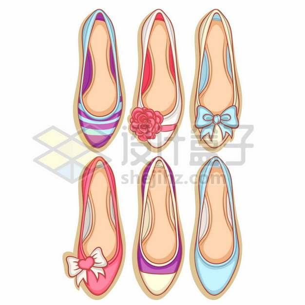6款俯视视角的绣花鞋高跟鞋等女鞋7147877矢量图片免抠素材