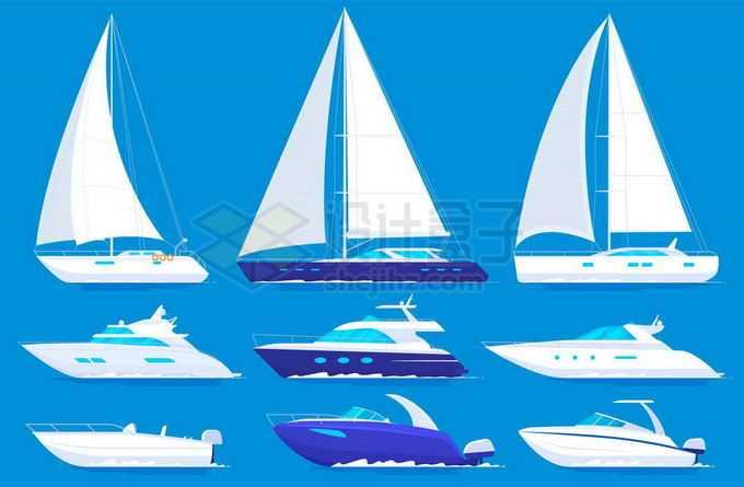 各种各样的白色蓝色机帆船快艇侧面图9538605矢量图片免抠素材