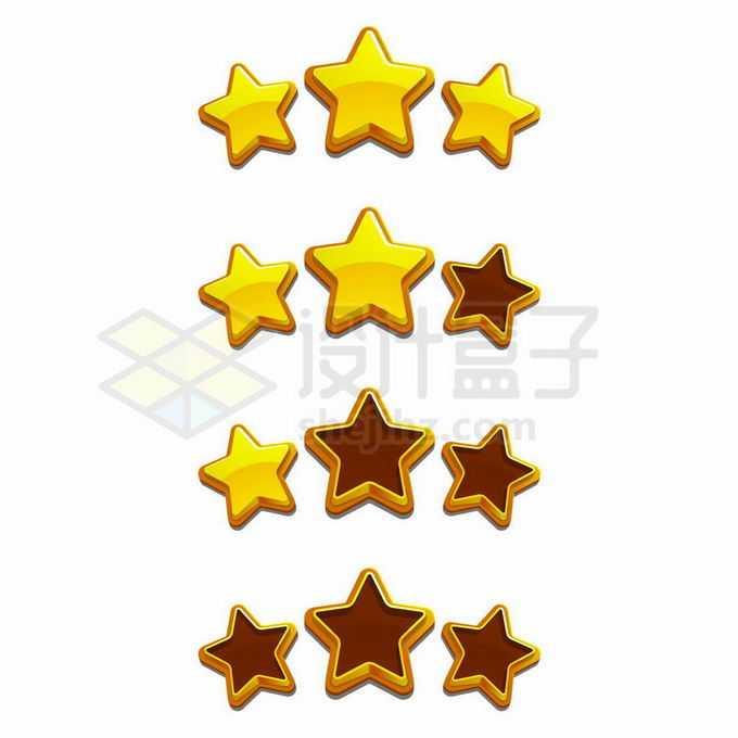 卡通五角星游戏三星游戏UI元素4928603矢量图片免抠素材