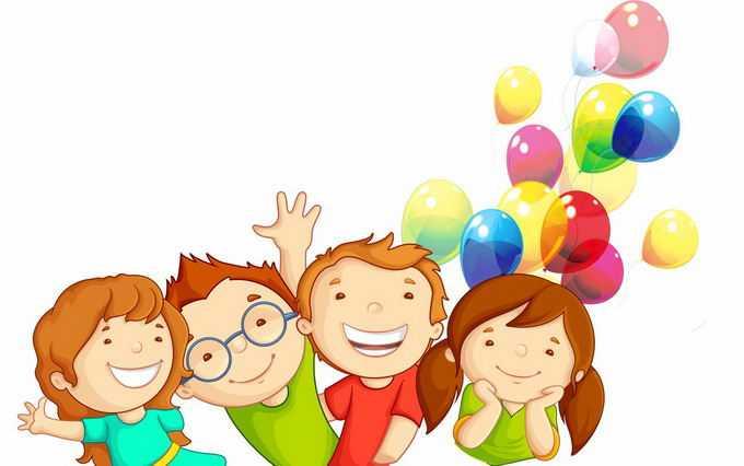 放飞气球的快乐小朋友儿童节插画5986224png免抠图片素材