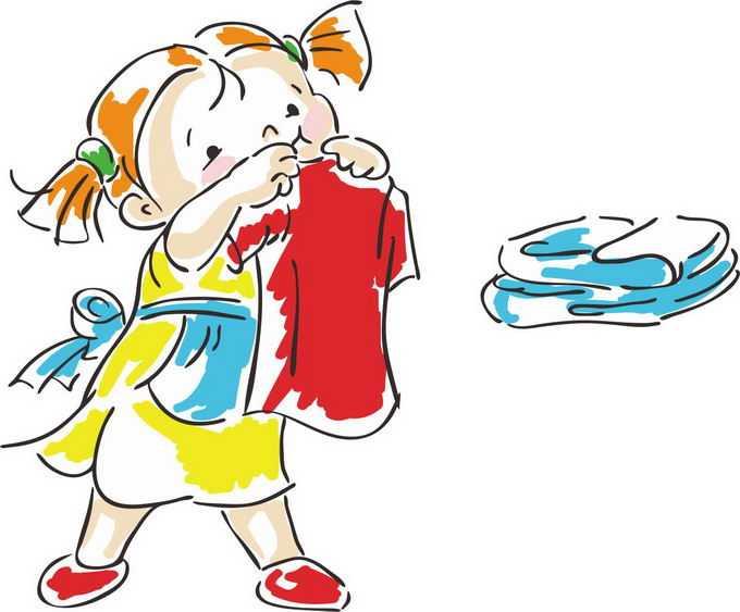 正在叠衣服做家务活的卡通小孩儿童涂鸦绘画6860695png免抠图片素材