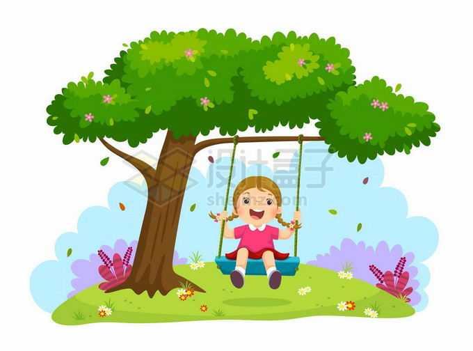 卡通小女孩在大树下玩荡秋千儿童节插画5042958矢量图片免抠素材