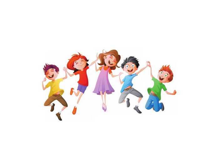 手牵手跳起来的卡通小朋友儿童节快乐插画9350734png免抠图片素材
