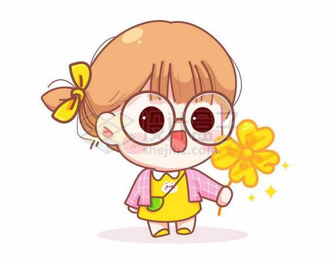 卡通小女孩送你一朵小黄花3998023矢量图片免抠素材