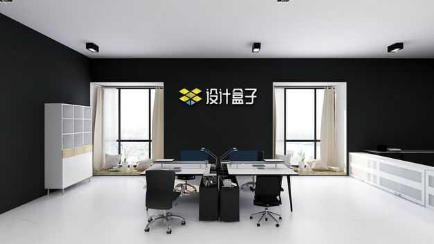 写字楼办公室黑色墙面上的公司logo文字显示样机6935720免抠图片素材