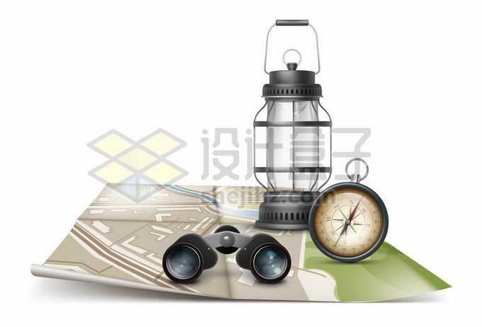展开的地图上的双筒望远镜指南针和煤油灯象征了户外旅行1775880矢量图片免抠素材