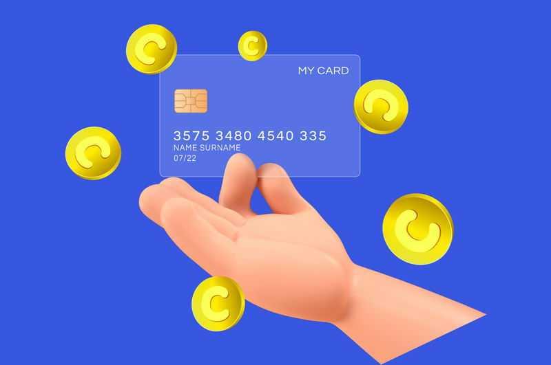 胖乎乎的小手拿着一张毛玻璃半透明效果银行卡和金币9694832免抠图片素材