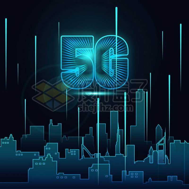蓝色发光效果科技线条城市和5G移动通信技术4359191免抠图片素材