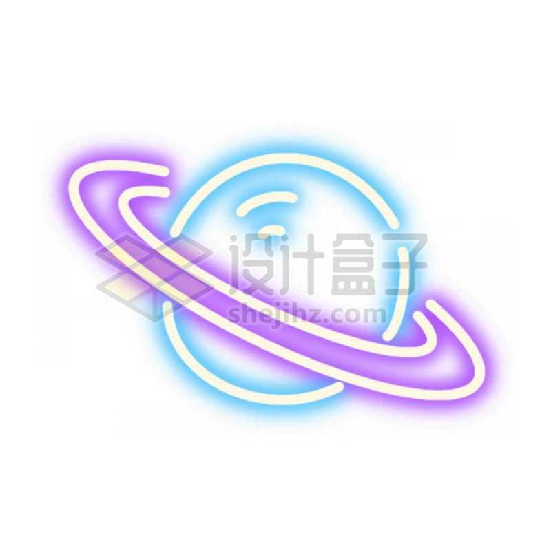 霓虹灯风格发光线条卡通土星等带光环的星球2866649免抠图片素材