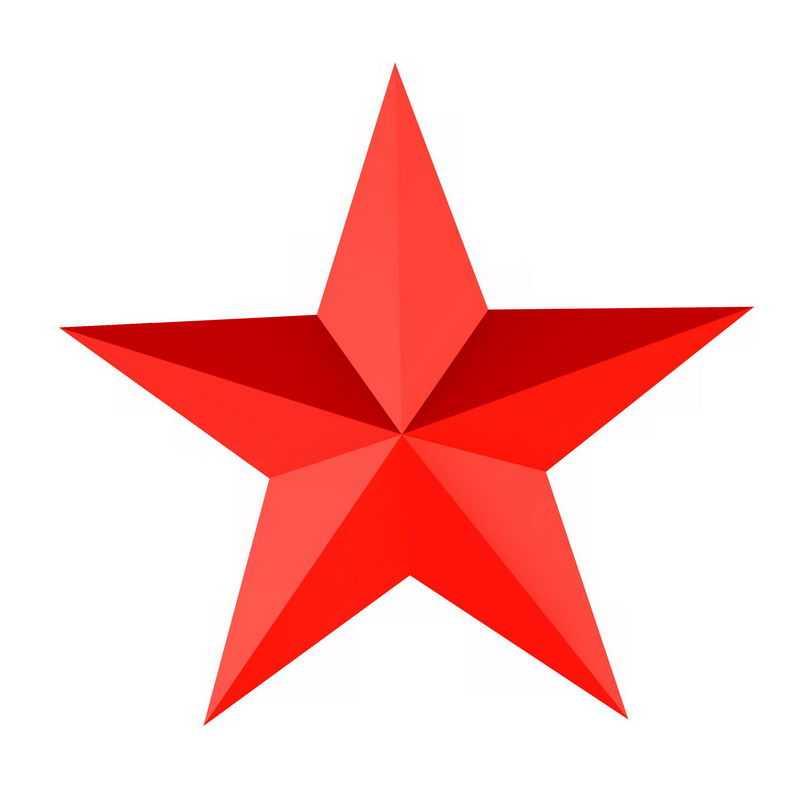 3D立体风格的红色五角星图案7164894png免抠图片素材