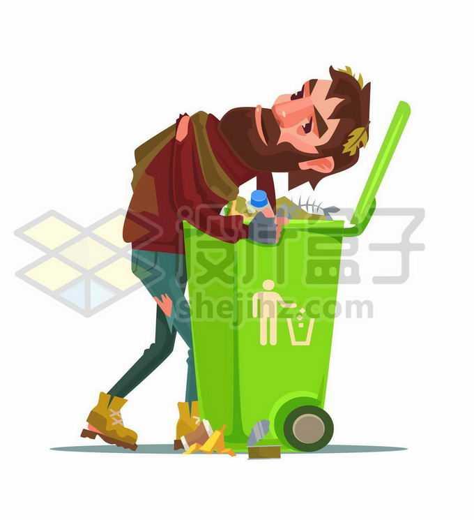 卡通流浪汉无家可归者乞丐正在翻垃圾桶寻找能吃的东西9961973矢量图片免抠素材