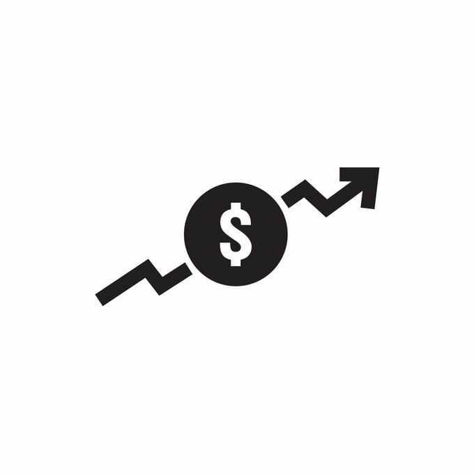 美元符号上升箭头象征了业务成本金额上升4390740矢量图片免抠素材