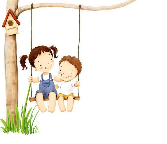 2个卡通小朋友正在荡秋千儿童节快乐4152396png免抠图片素材