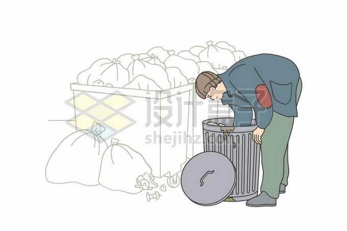 正在翻垃圾桶的乞丐拾荒者流浪汉无家可归者手绘线条插画4995125矢量图片免抠素材