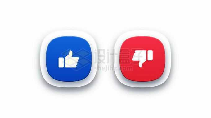 圆角风格点赞推荐按钮和不推荐按钮9600144矢量图片免抠素材