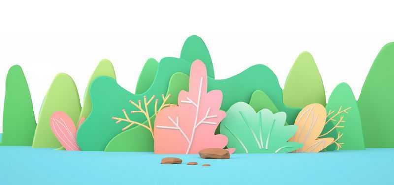 漂亮的3D剪纸叠加风格的青山绿水森林风景8574816png免抠图片素材