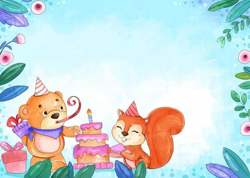卡通小熊小松鼠儿童生日背景图6448242图片素材