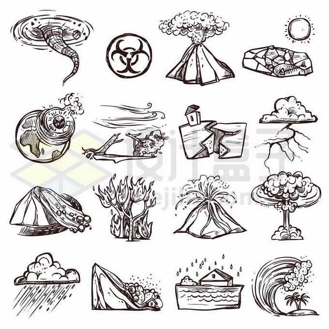 各种龙卷风核辐射污染火山喷发干旱飓风地震泥石流火灾洪水等手绘风格自然灾害8425548矢量图片免抠素材