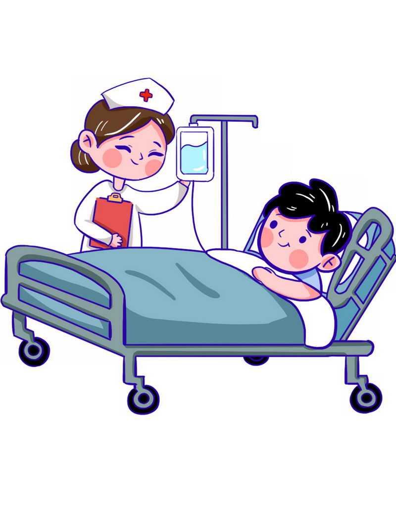 卡通病人躺在病床上接受卡通护士挂水治疗2755810png免抠图片素材