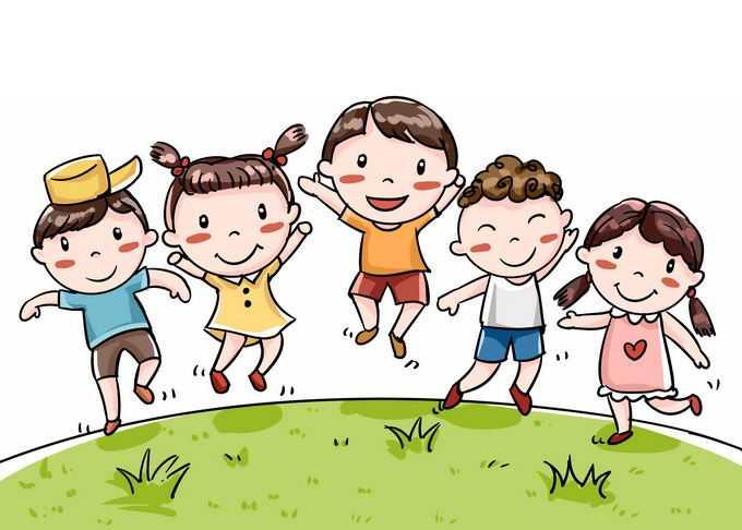 青青的绿草地和开心得跳起来的卡通小朋友儿童节快乐插画8516485免抠图片素材