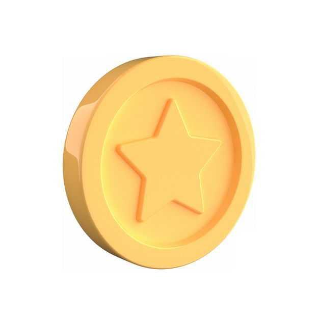一个高清3D立体卡通金币金黄色硬币6665391免抠图片素材