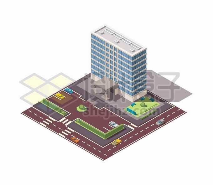 2.5D风格医院大楼高楼大厦和门前的停车场马路9360202矢量图片免抠素材