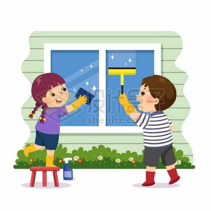 两个卡通小朋友正在擦窗户帮忙做家务儿童节插画6440841矢量图片免抠素材