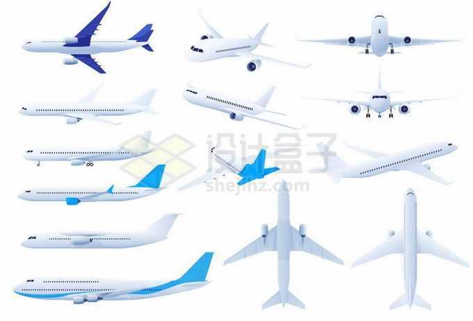 各种各样的白色客机大型飞机8372635矢量图片免抠素材