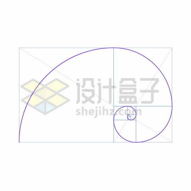 紫色的黄金分割线标准画法斐波那契螺旋线2895444矢量图片免抠素材