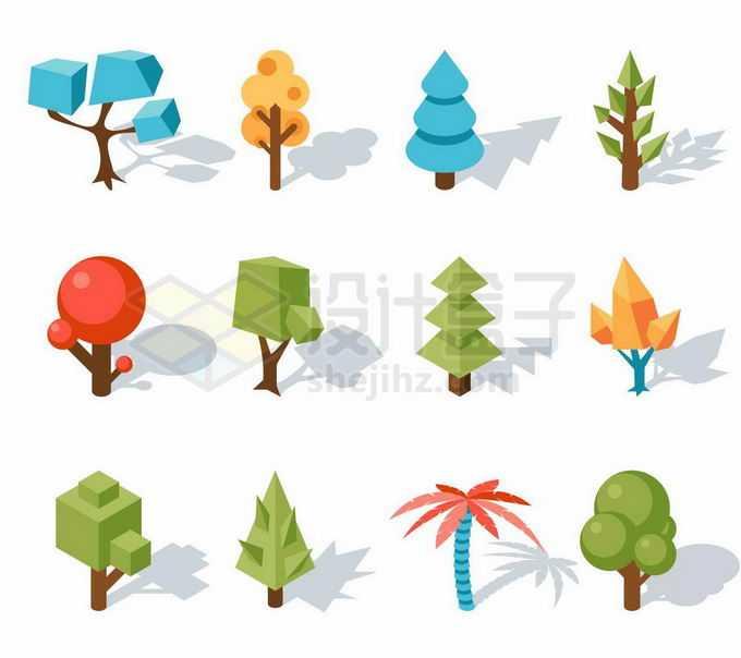 12款低多边形风格大树3281636矢量图片免抠素材