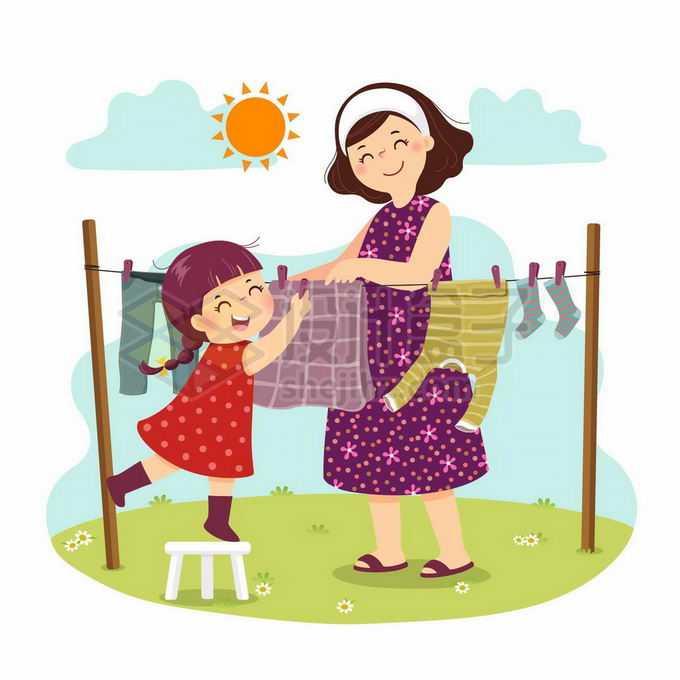 卡通小女孩帮着妈妈晾衣服帮忙做家务儿童节插画3368451矢量图片免抠素材