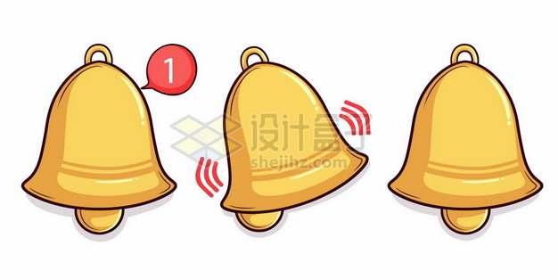3款手机软件信息消息通知的金黄色小铃铛1583221矢量图片免抠素材