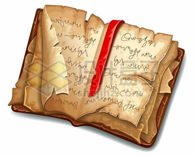 一本翻开的古老典籍书籍魔法书3528827矢量图片免抠素材