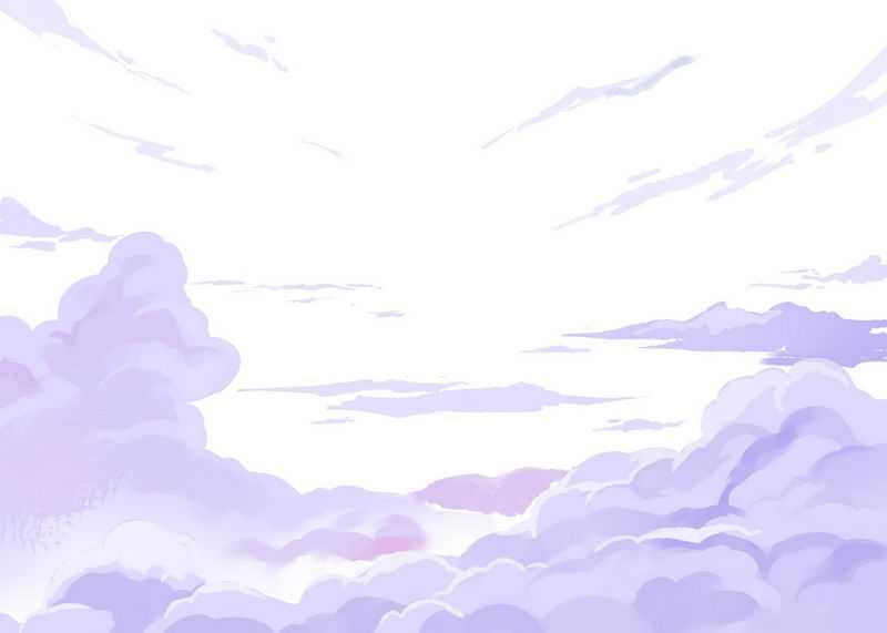 漫画风格卡通紫色云朵云彩烟雾效果1359053免抠图片素材