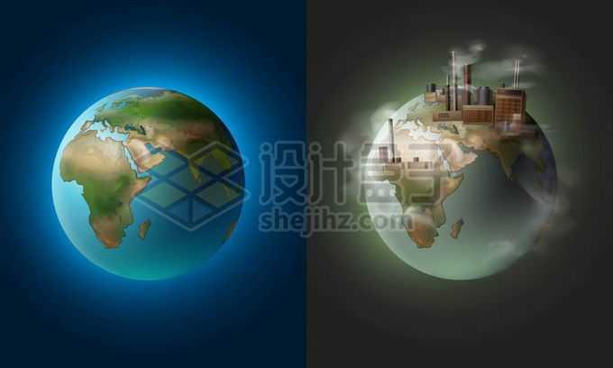 美丽的地球和被工厂污染的地球对比图5512358矢量图片免抠素材