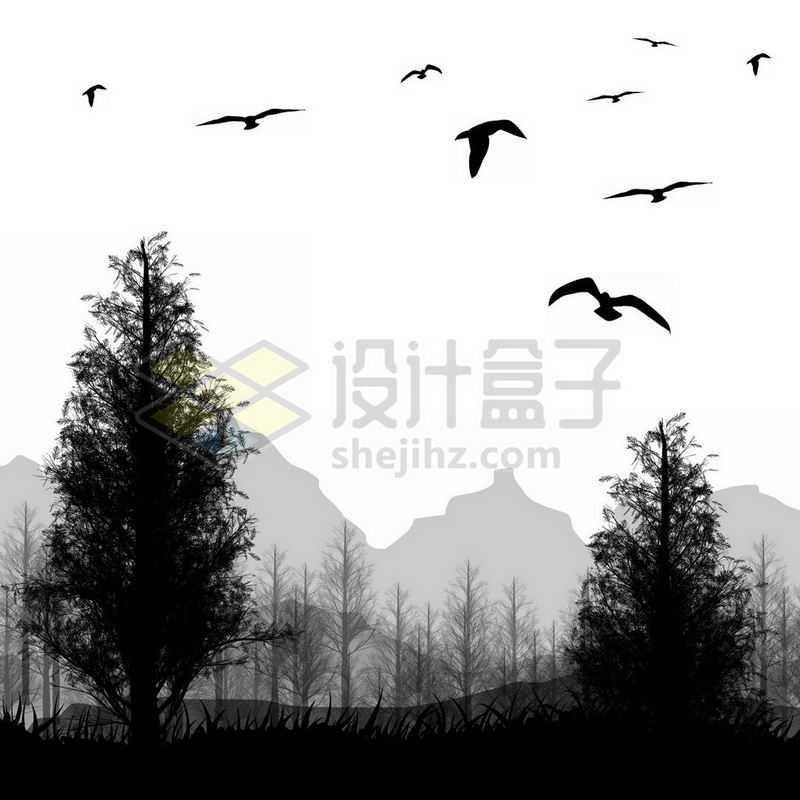 远山和森林大树飞鸟风景剪影8985099免抠图片素材
