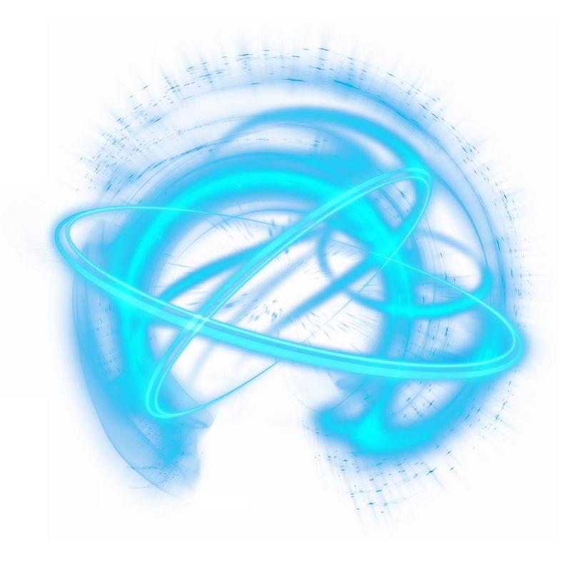 绚丽的科技风格蓝色光芒光晕光圈发光抽象光球效果5788292免抠图片素材 效果元素-第1张