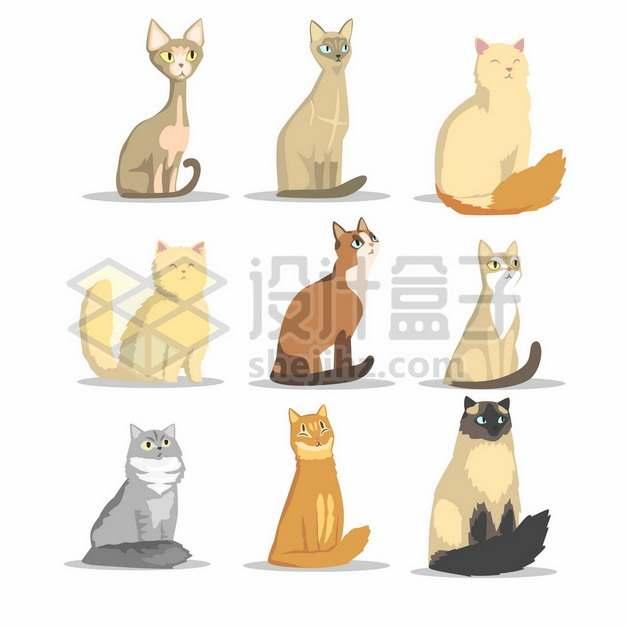 9款坐在地上的可爱卡通猫咪5350834矢量图片免抠素材