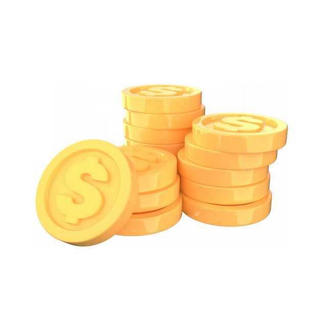 一大堆3D立体卡通金币5274932免抠图片素材