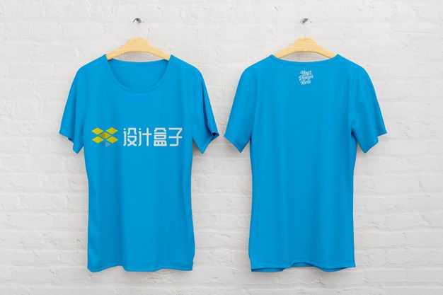 挂起来的蓝色T恤logo样机7490850免抠图片素材