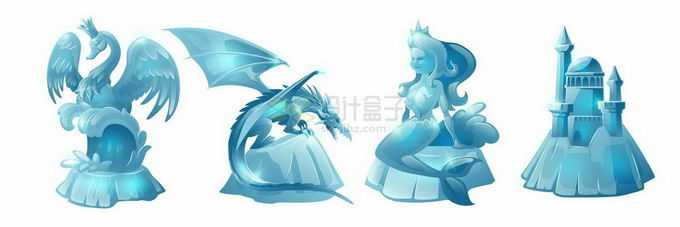 4款深蓝色的冰雕冰块雕塑哈尔滨冰雪大世界4239444矢量图片免抠素材