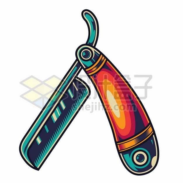 暗红色和绿色的折叠刀理发师剃刀8750067矢量图片免抠素材