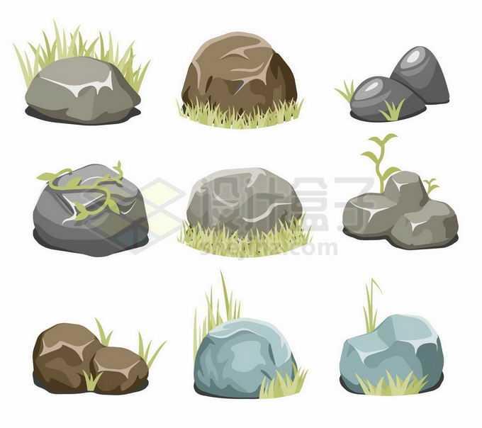 9款草丛中的大石头石块2148936矢量图片免抠素材