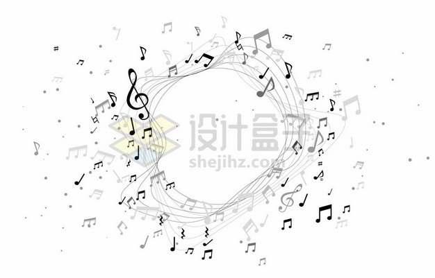 黑色音乐音符组成的抽象图案装饰3963111矢量图片免抠素材