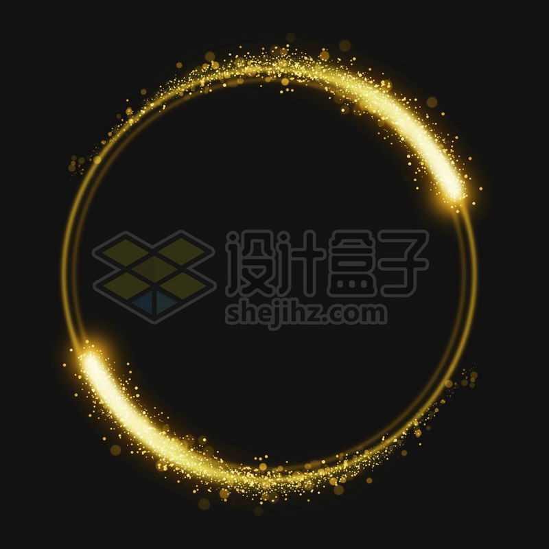 金黄色光点粒子组成的动感圆环6906642免抠图片素材