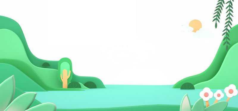 3D剪纸叠加风格的青山绿水风景1617662png免抠图片素材