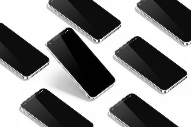 排列整齐的一堆苹果iPhone12手机屏幕显示样机4666473图片素材 样机-第1张