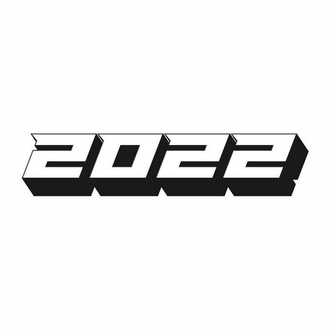 黑色阴影3D立体风格2022年虎年艺术字体6388094矢量图片免抠素材