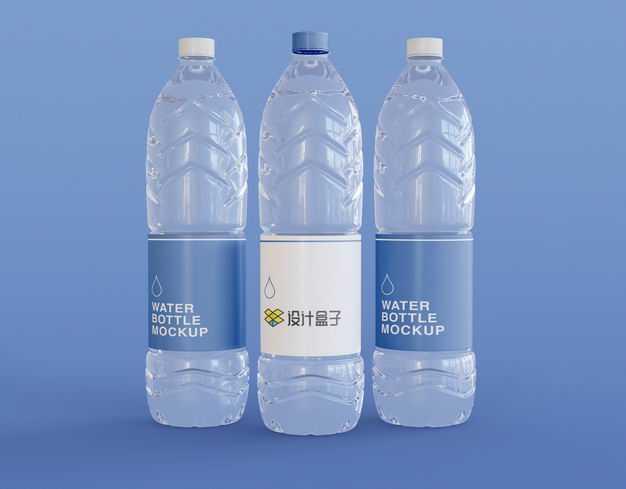 3瓶矿泉水饮用纯净水瓶子塑料瓶包装样机3747864图片素材