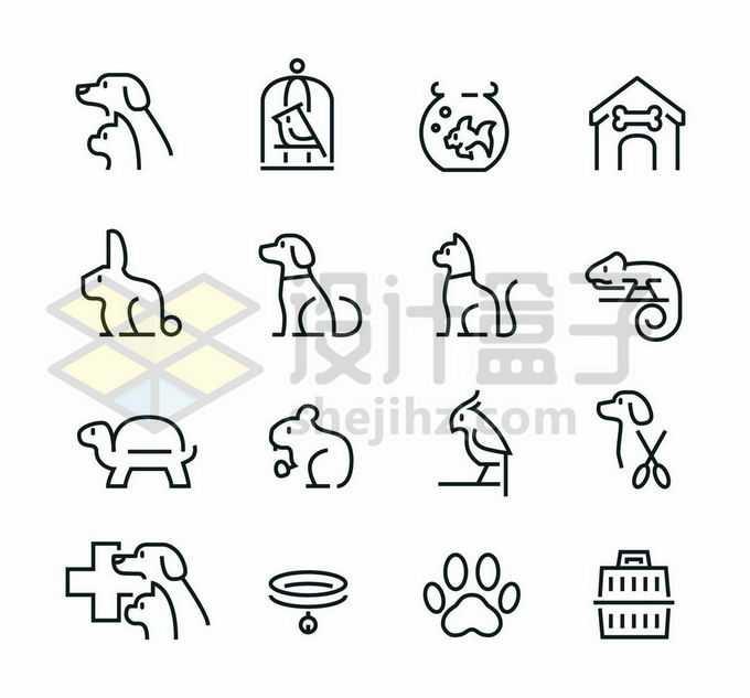 16款黑色线条风格狗狗猫咪金鱼小鸟乌龟等宠物图标3880841矢量图片免抠素材